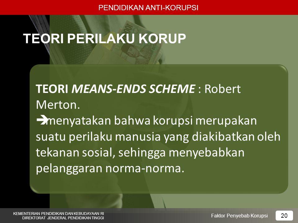 TEORI MEANS-ENDS SCHEME : Robert Merton.