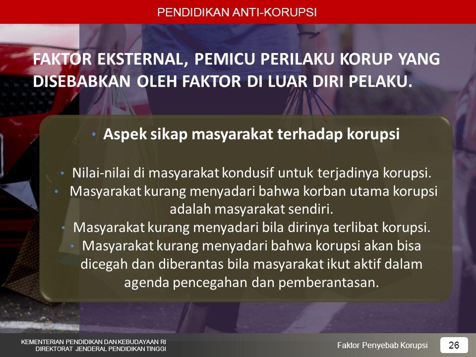 Aspek sikap masyarakat terhadap korupsi