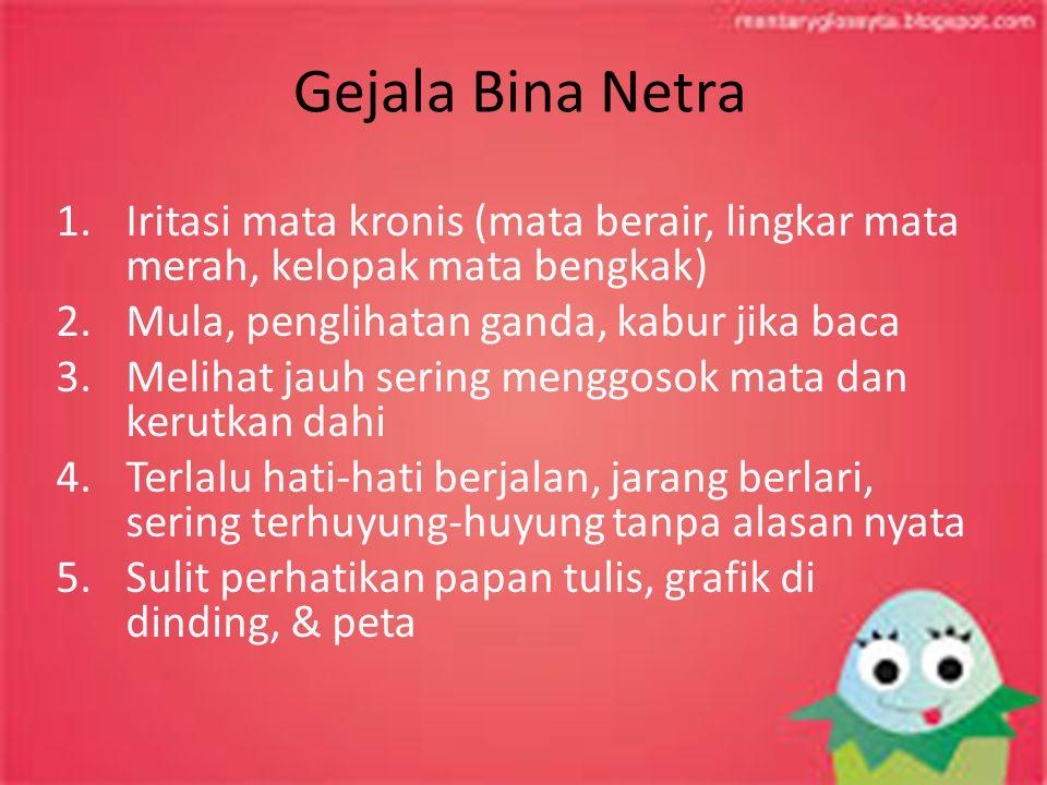 Gejala Bina Netra Iritasi mata kronis (mata berair, lingkar mata merah, kelopak mata bengkak) Mula, penglihatan ganda, kabur jika baca.