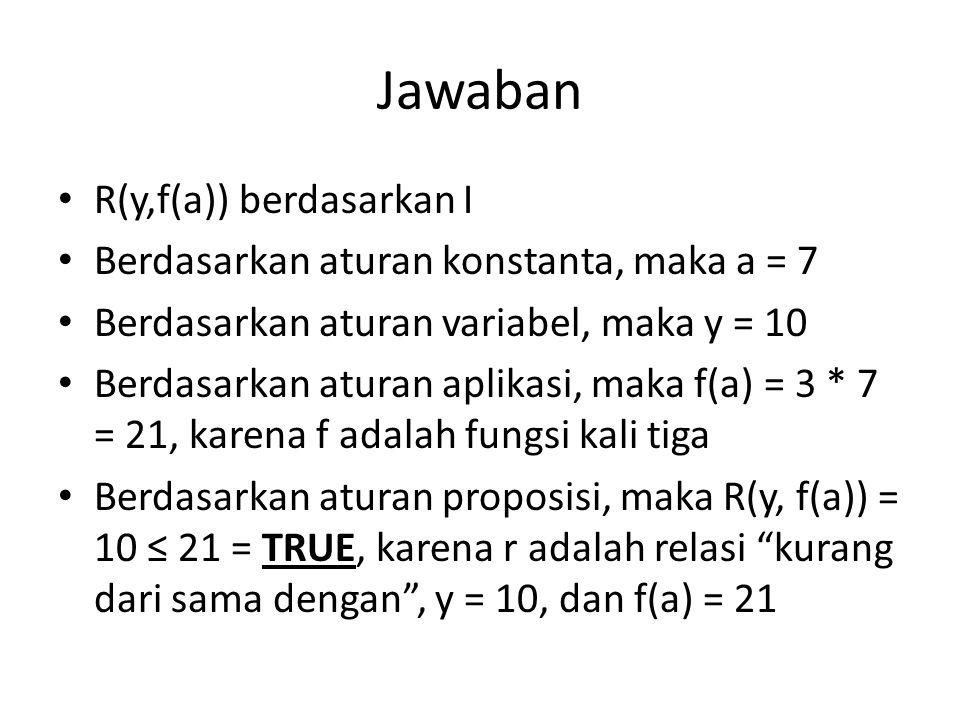Jawaban R(y,f(a)) berdasarkan I