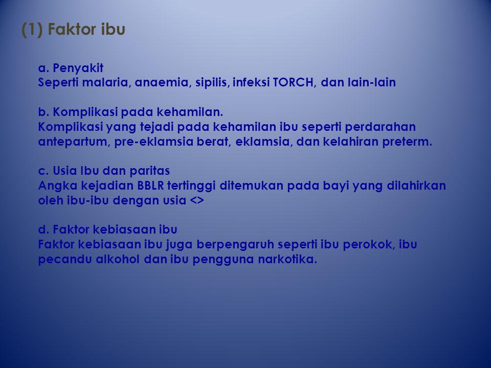 (1) Faktor ibu a. Penyakit