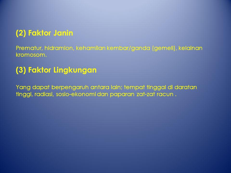 (2) Faktor Janin (3) Faktor Lingkungan