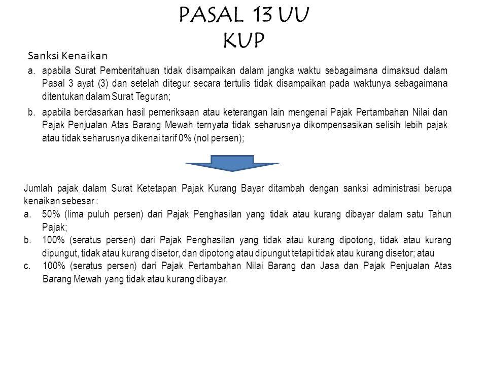 PASAL 13 UU KUP Sanksi Kenaikan