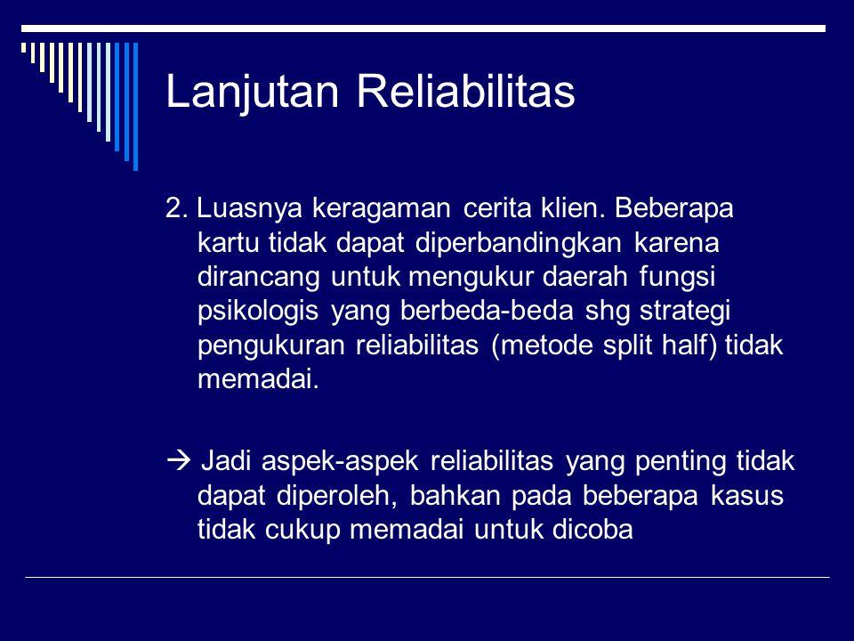 Lanjutan Reliabilitas