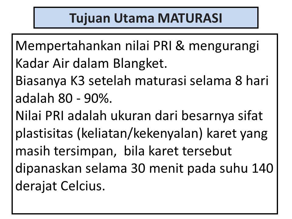 Tujuan Utama MATURASI Mempertahankan nilai PRI & mengurangi Kadar Air dalam Blangket. Biasanya K3 setelah maturasi selama 8 hari adalah 80 - 90%.