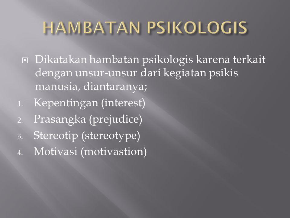 HAMBATAN PSIKOLOGIS Dikatakan hambatan psikologis karena terkait dengan unsur-unsur dari kegiatan psikis manusia, diantaranya;