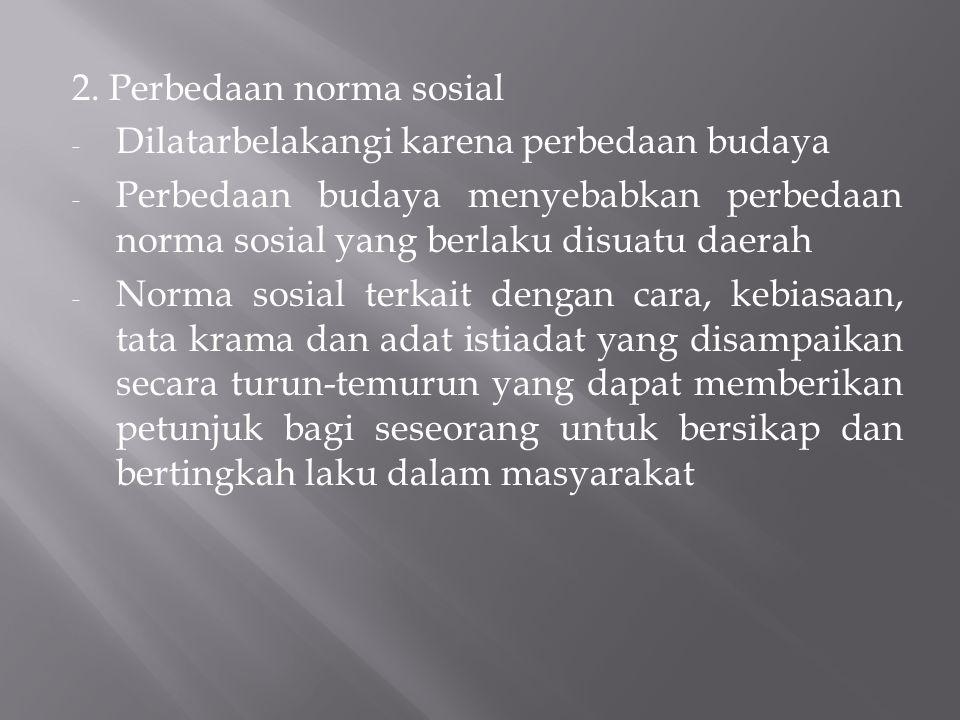 2. Perbedaan norma sosial