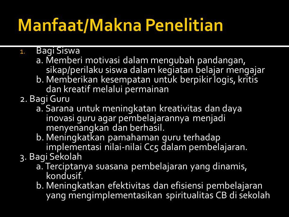 Manfaat/Makna Penelitian