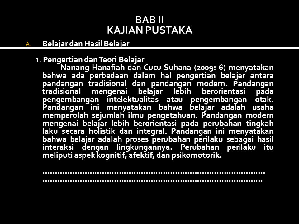 BAB II KAJIAN PUSTAKA Belajar dan Hasil Belajar