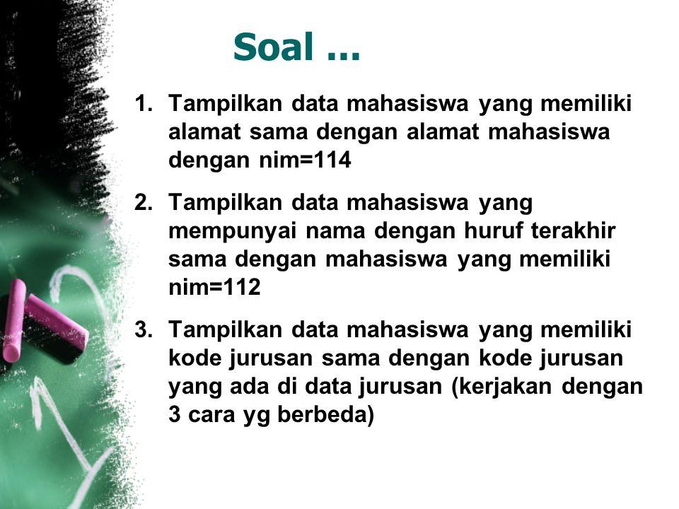 Soal ... Tampilkan data mahasiswa yang memiliki alamat sama dengan alamat mahasiswa dengan nim=114.