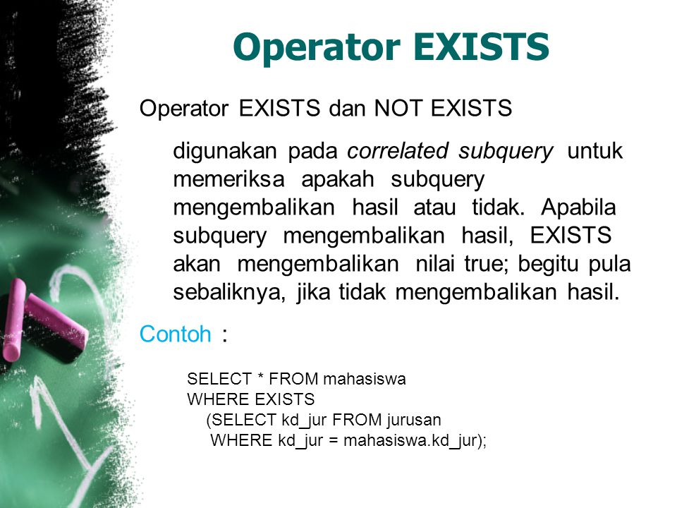 Operator EXISTS