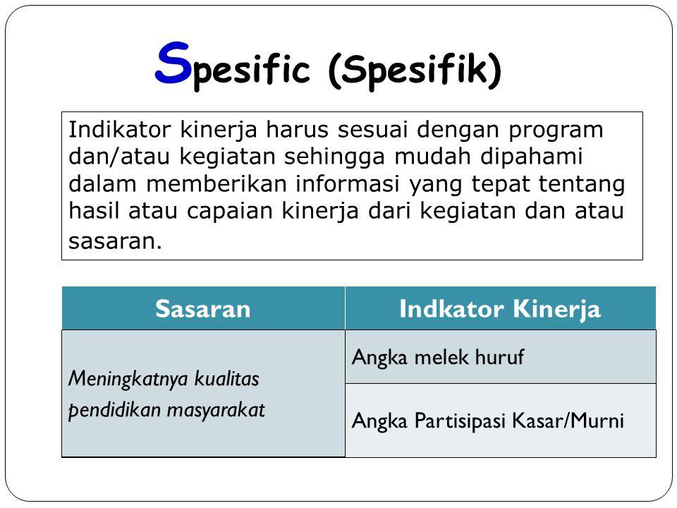 Spesific (Spesifik) Sasaran Indkator Kinerja