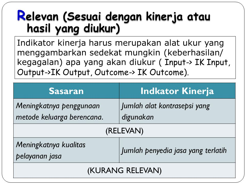 Relevan (Sesuai dengan kinerja atau hasil yang diukur)