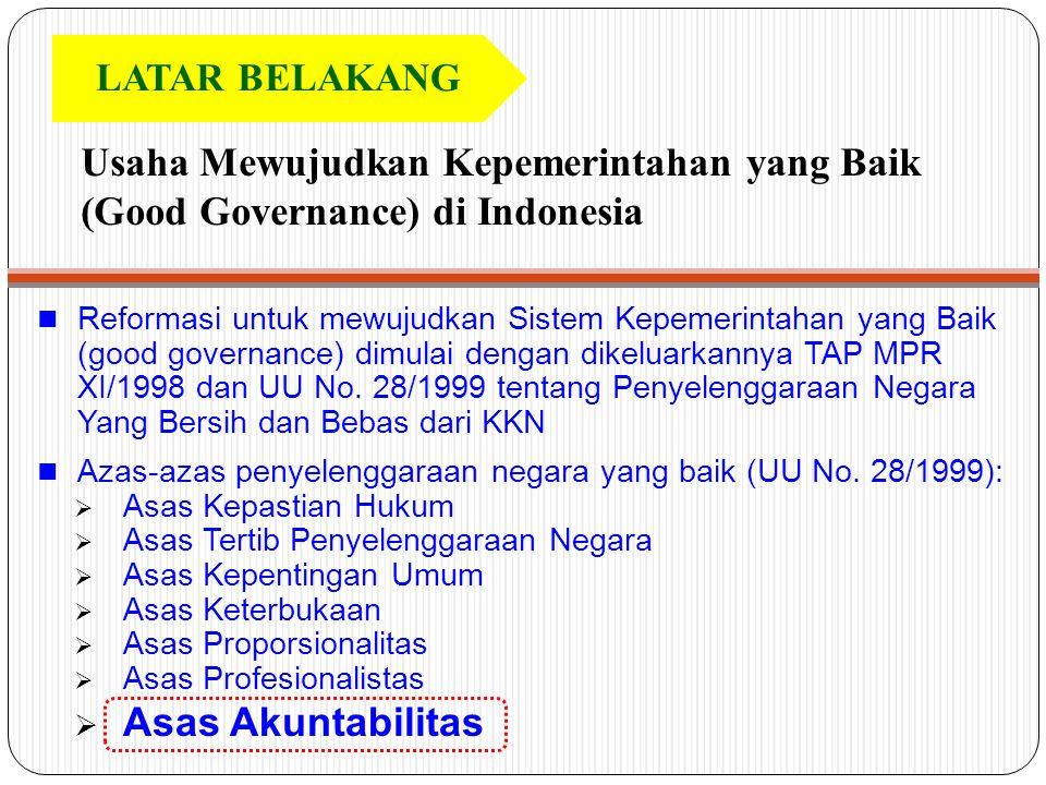 LATAR BELAKANG Usaha Mewujudkan Kepemerintahan yang Baik (Good Governance) di Indonesia.
