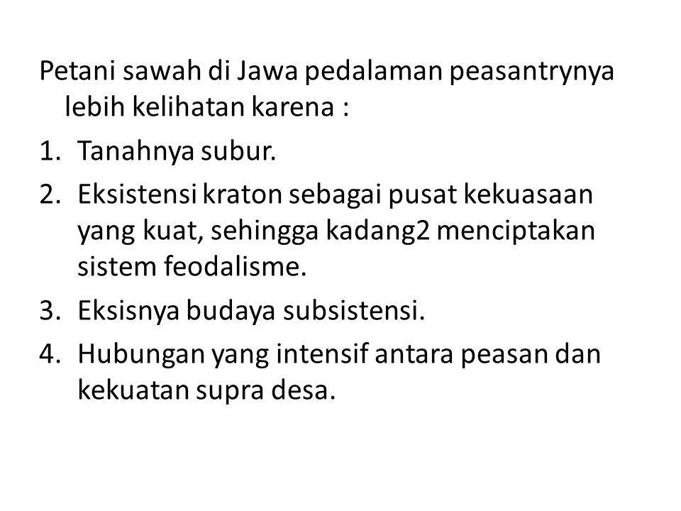 Petani sawah di Jawa pedalaman peasantrynya lebih kelihatan karena :