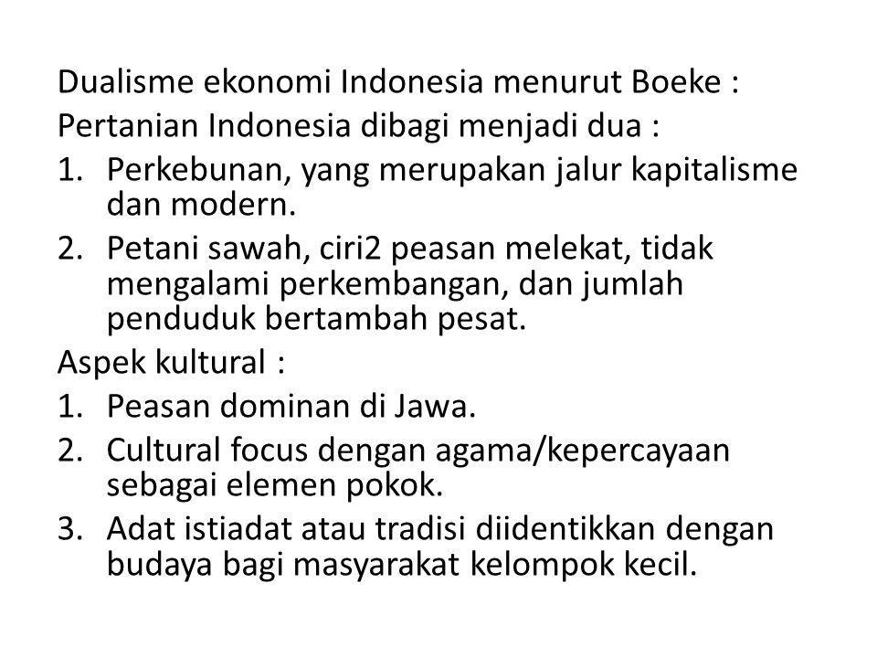 Dualisme ekonomi Indonesia menurut Boeke :