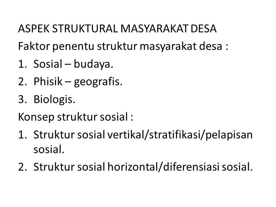 ASPEK STRUKTURAL MASYARAKAT DESA