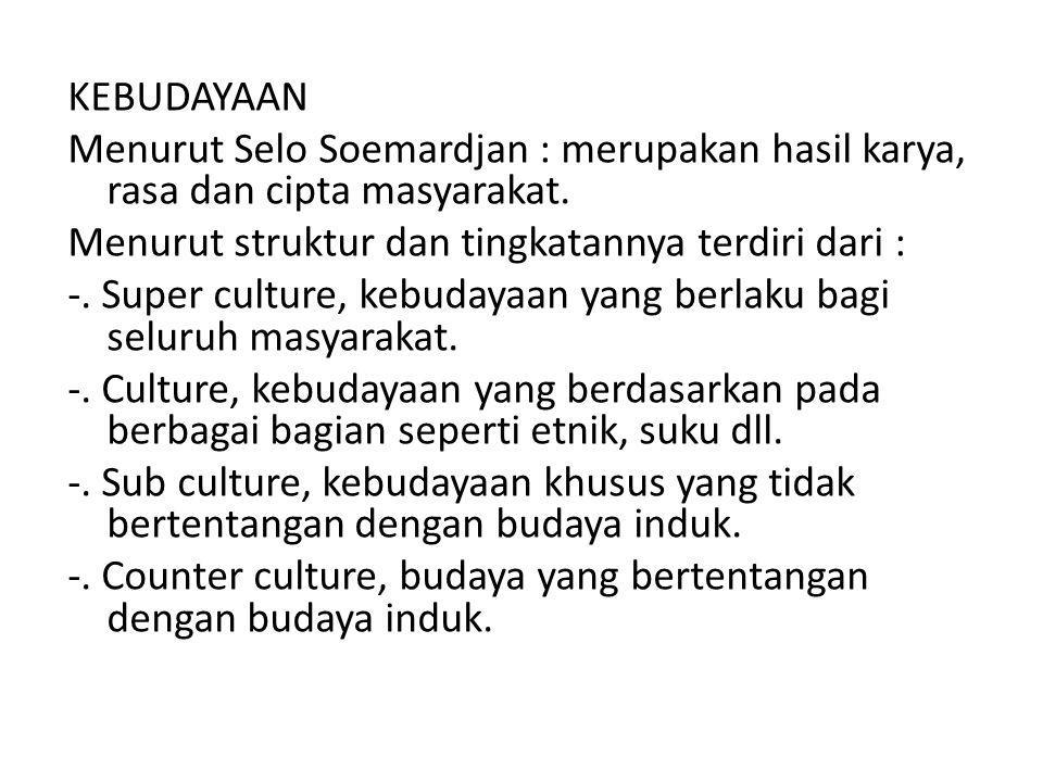 KEBUDAYAAN Menurut Selo Soemardjan : merupakan hasil karya, rasa dan cipta masyarakat.