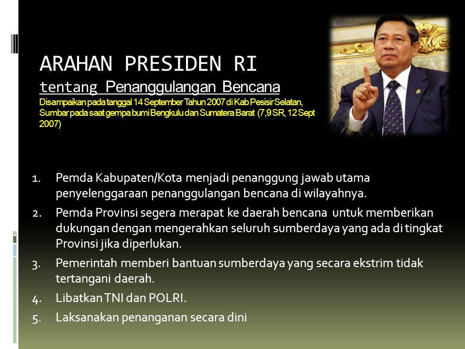 ARAHAN PRESIDEN RI tentang Penanggulangan Bencana Disampaikan pada tanggal 14 September Tahun 2007 di Kab Pesisir Selatan, Sumbar pada saat gempa bumi Bengkulu dan Sumatera Barat (7,9 SR, 12 Sept 2007)