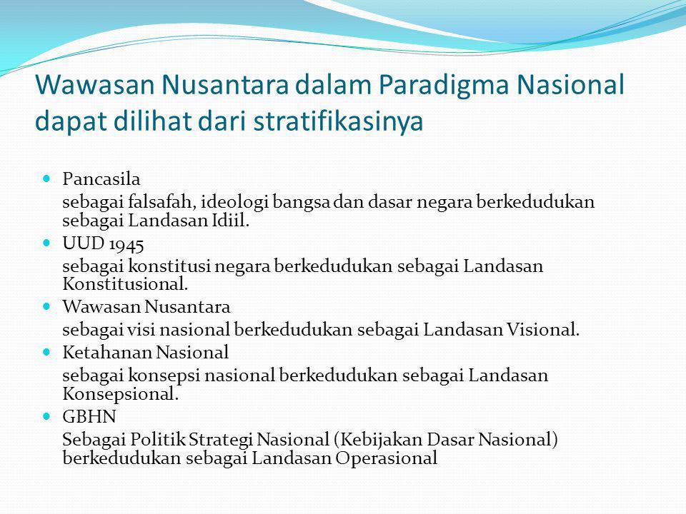 Wawasan Nusantara dalam Paradigma Nasional dapat dilihat dari stratifikasinya