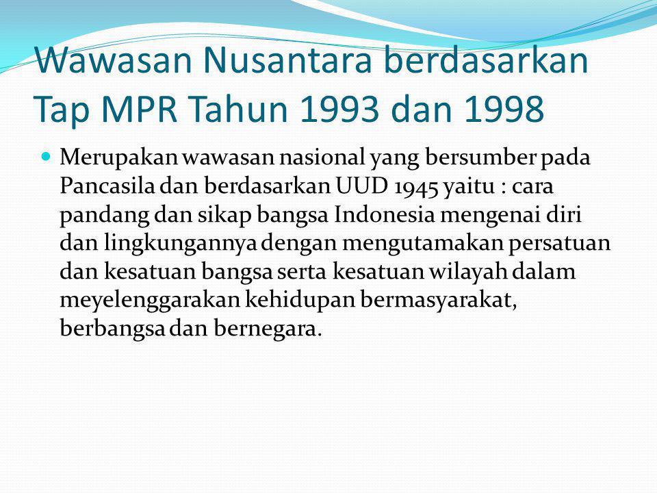 Wawasan Nusantara berdasarkan Tap MPR Tahun 1993 dan 1998