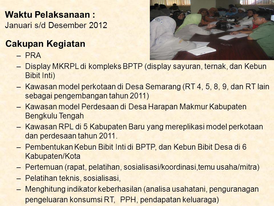 Waktu Pelaksanaan : Januari s/d Desember 2012