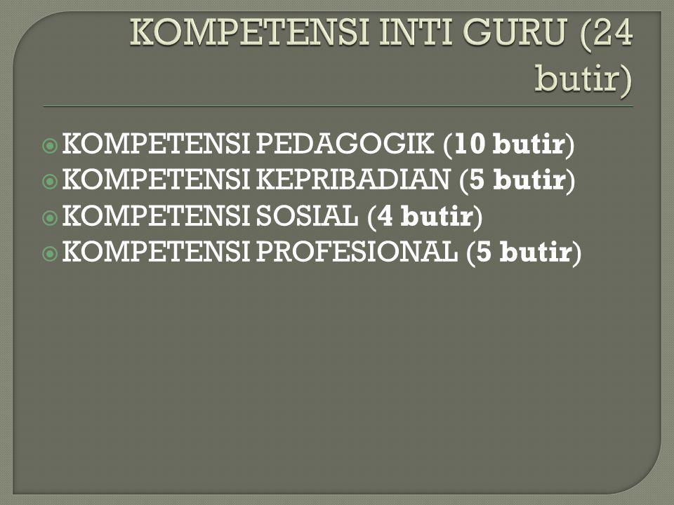 KOMPETENSI INTI GURU (24 butir)