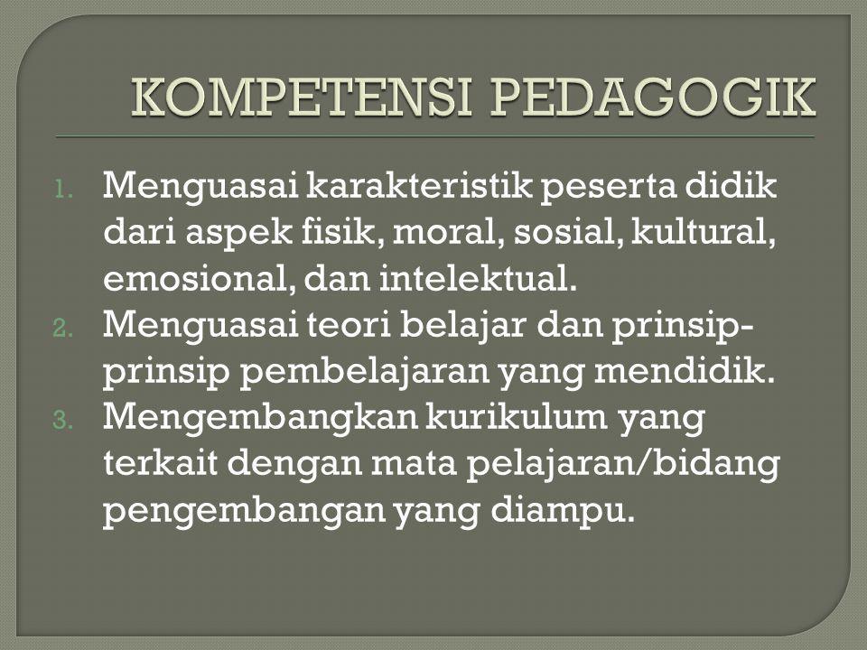 KOMPETENSI PEDAGOGIK Menguasai karakteristik peserta didik dari aspek fisik, moral, sosial, kultural, emosional, dan intelektual.