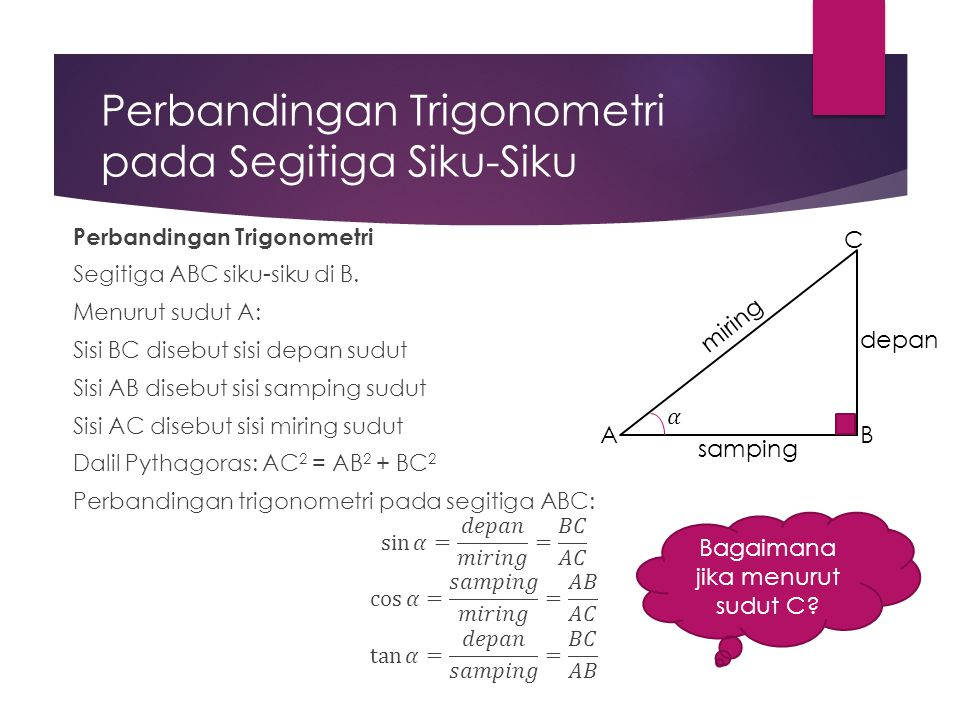 Perbandingan Trigonometri pada Segitiga Siku-Siku