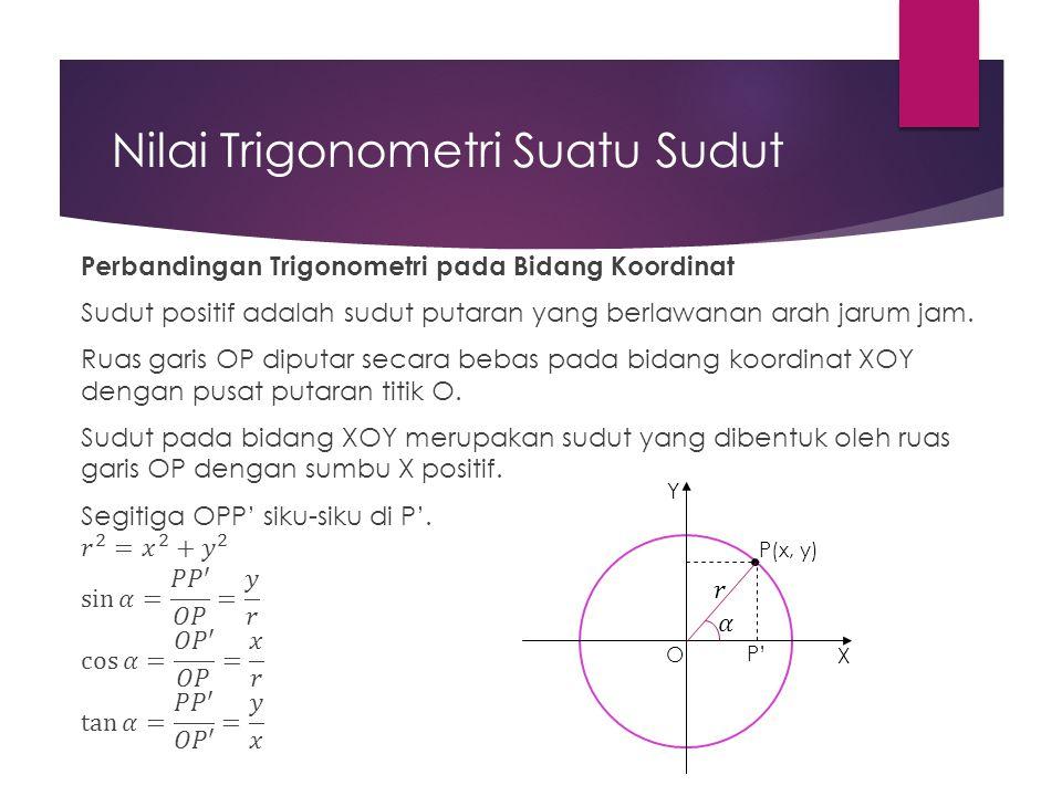 Nilai Trigonometri Suatu Sudut