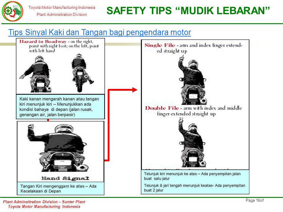 Tips Sinyal Kaki dan Tangan bagi pengendara motor