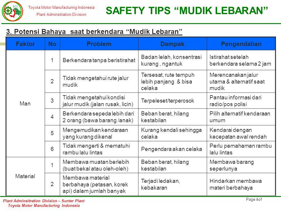 3. Potensi Bahaya saat berkendara Mudik Lebaran