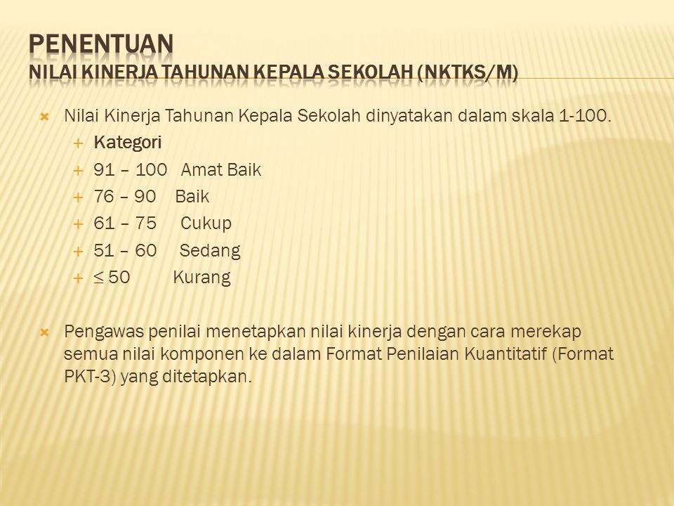 Penentuan Nilai Kinerja Tahunan Kepala Sekolah (NKTKS/M)