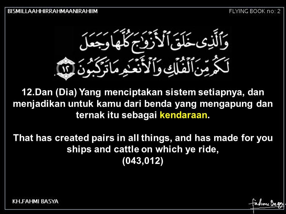 12.Dan (Dia) Yang menciptakan sistem setiapnya, dan menjadikan untuk kamu dari benda yang mengapung dan ternak itu sebagai kendaraan.