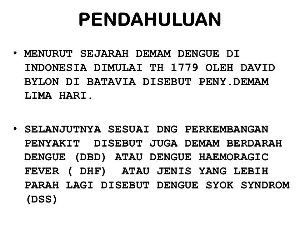 PENDAHULUAN MENURUT SEJARAH DEMAM DENGUE DI INDONESIA DIMULAI TH 1779 OLEH DAVID BYLON DI BATAVIA DISEBUT PENY.DEMAM LIMA HARI.