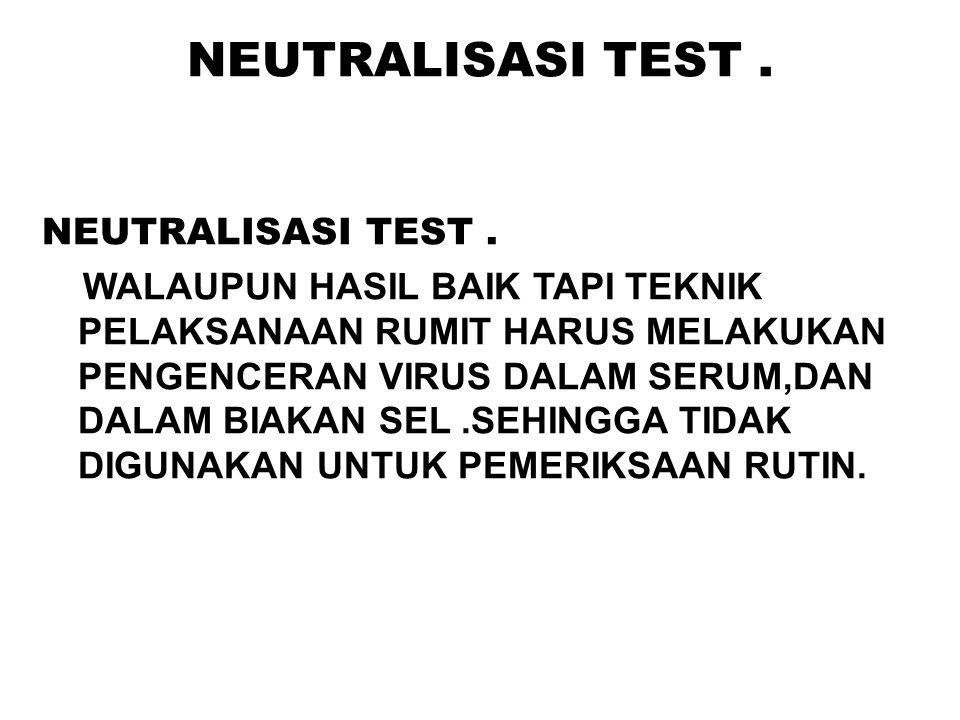 NEUTRALISASI TEST . NEUTRALISASI TEST .