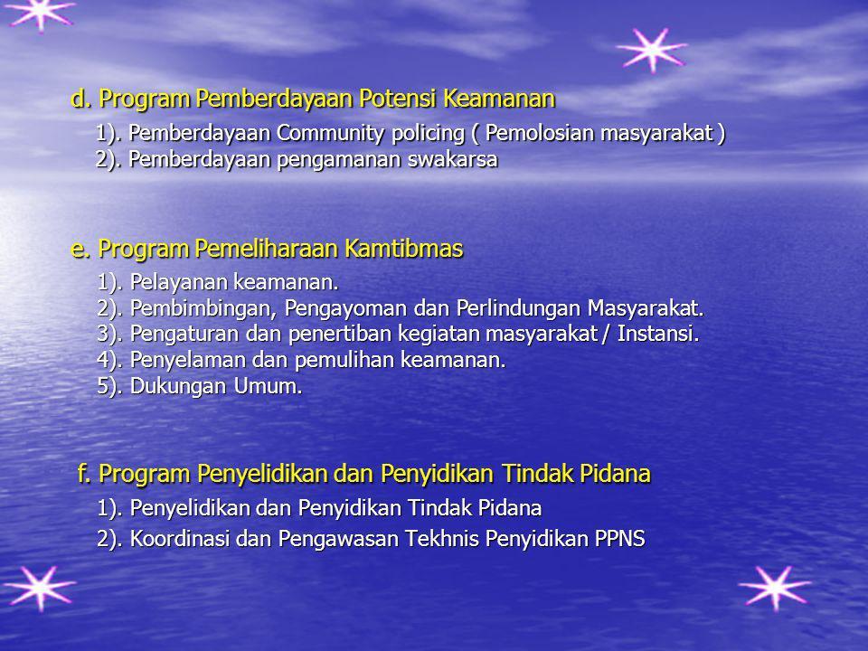 d. Program Pemberdayaan Potensi Keamanan