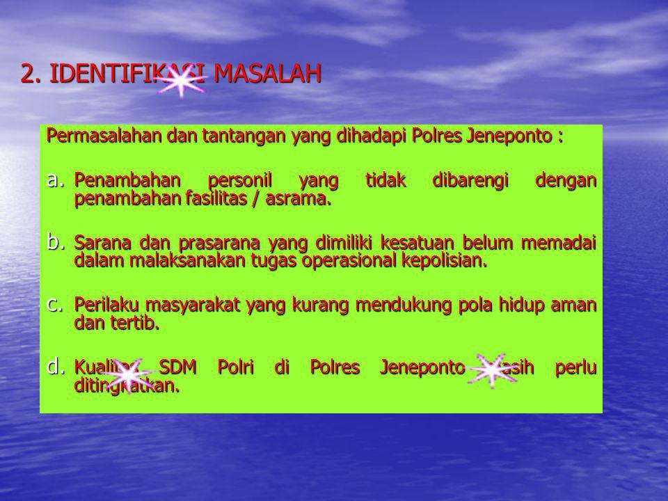 2. IDENTIFIKASI MASALAH Permasalahan dan tantangan yang dihadapi Polres Jeneponto :