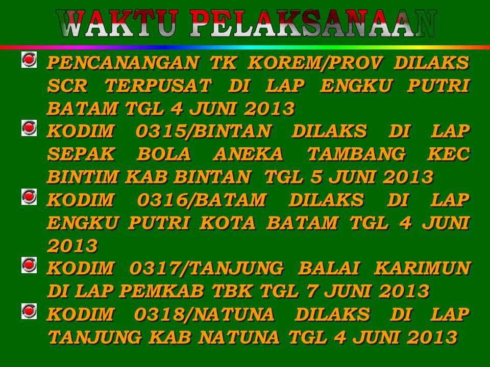 WAKTU PELAKSANAAN PENCANANGAN TK KOREM/PROV DILAKS SCR TERPUSAT DI LAP ENGKU PUTRI BATAM TGL 4 JUNI 2013.