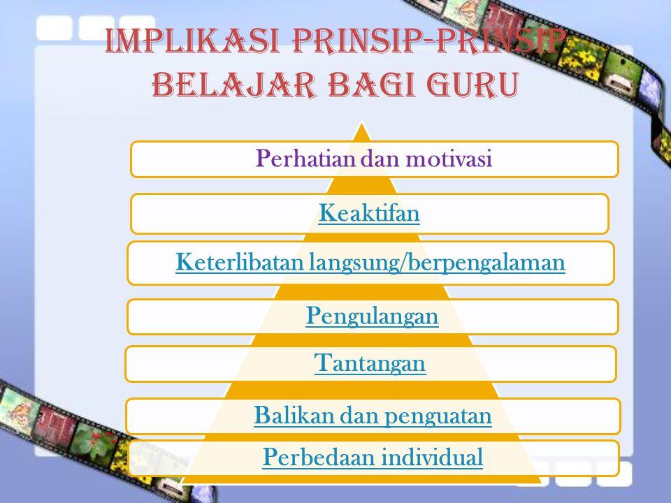 Implikasi Prinsip-Prinsip Belajar bagi Guru