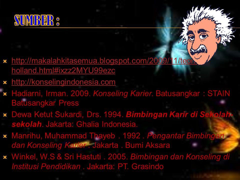 SUMBER : http://makalahkitasemua.blogspot.com/2009/11/teori-holland.html#ixzz2MYU99ezc. http://konselingindonesia.com.
