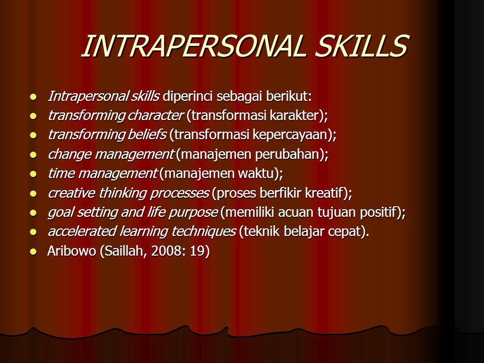 INTRAPERSONAL SKILLS Intrapersonal skills diperinci sebagai berikut: