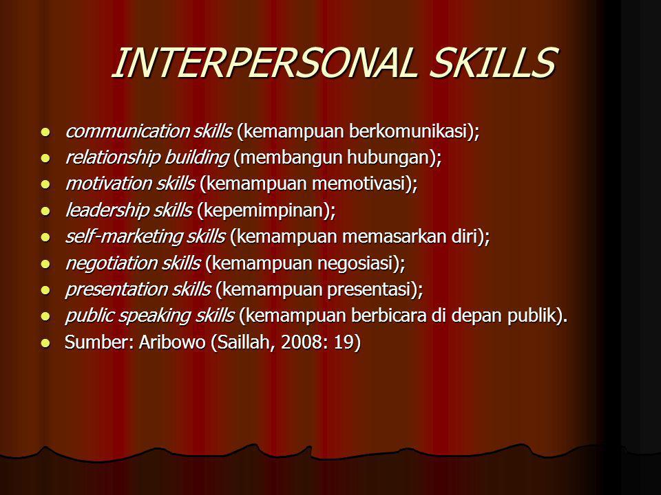 INTERPERSONAL SKILLS communication skills (kemampuan berkomunikasi);