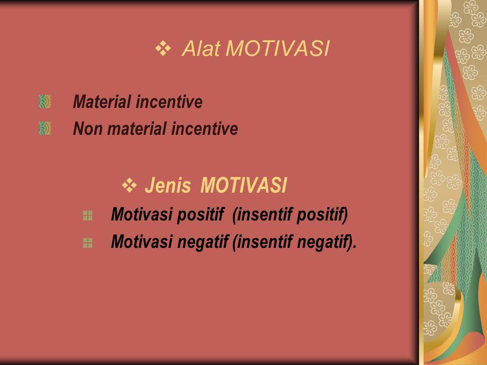 Alat MOTIVASI Jenis MOTIVASI Material incentive Non material incentive