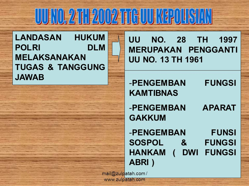 UU NO. 2 TH 2002 TTG UU KEPOLISIAN