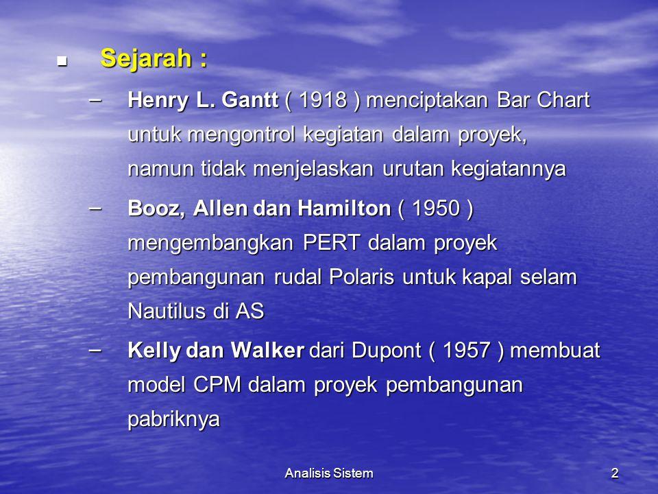 Sejarah : Henry L. Gantt ( 1918 ) menciptakan Bar Chart untuk mengontrol kegiatan dalam proyek, namun tidak menjelaskan urutan kegiatannya.
