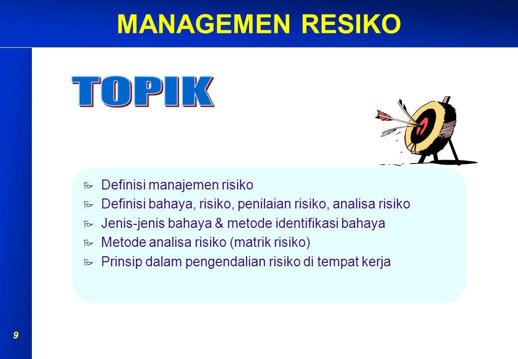 TOPIK Definisi manajemen risiko