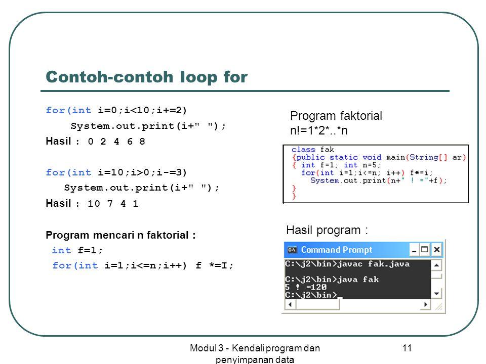 Contoh-contoh loop for