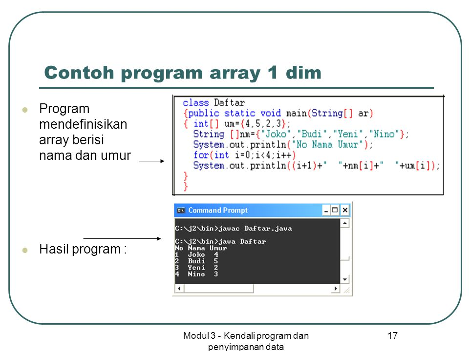 Contoh program array 1 dim