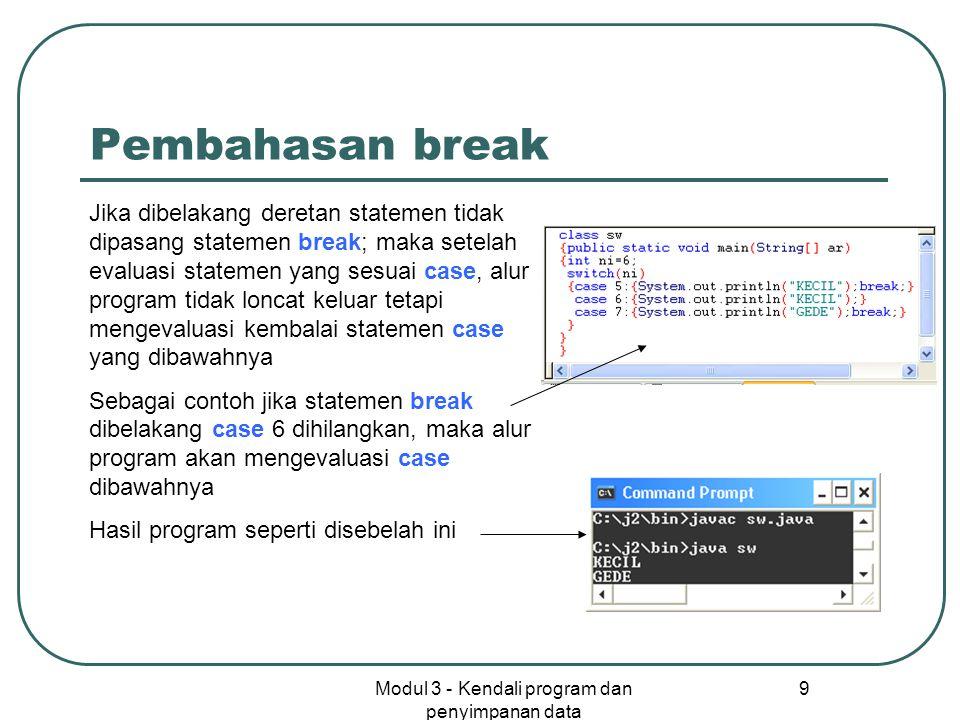 Modul 3 - Kendali program dan penyimpanan data